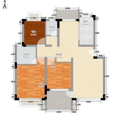 名门世家3室0厅2卫1厨120.00㎡户型图