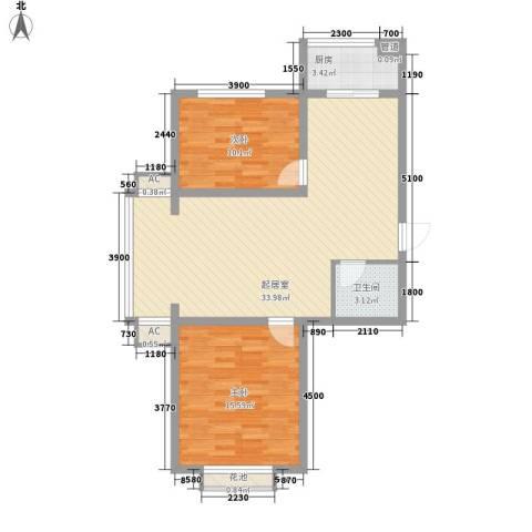 金地江畔花都2室0厅1卫1厨86.00㎡户型图