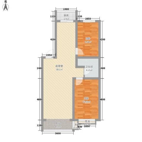 金地江畔花都2室0厅1卫1厨88.00㎡户型图