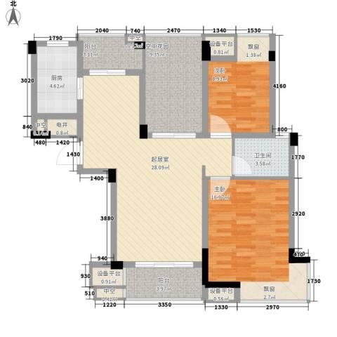 方圆华庭2室0厅1卫1厨125.00㎡户型图