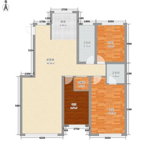 鸿博颐景花园3室0厅2卫0厨117.00㎡户型图
