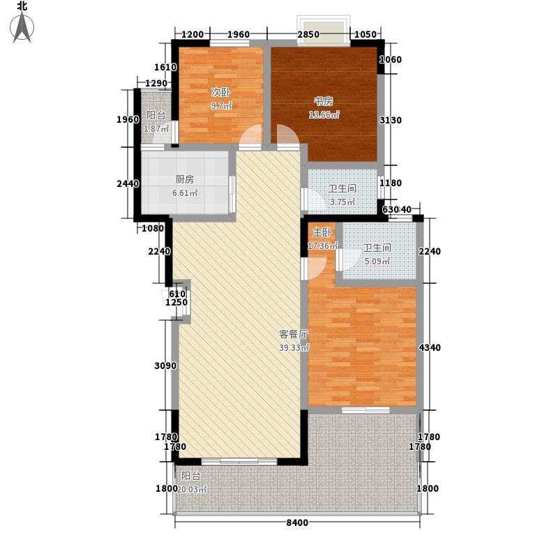 和谐家园138.80㎡E户型3室2厅2卫1厨
