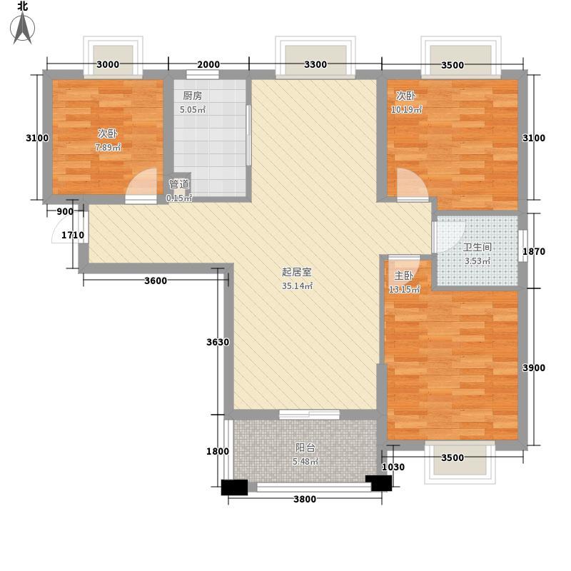 普鑫・上�郡117.54㎡2#3#4#7#12#F户型3室2厅1卫1厨