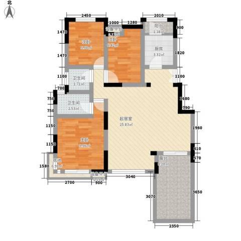 五建公司家属院3室0厅2卫1厨100.00㎡户型图