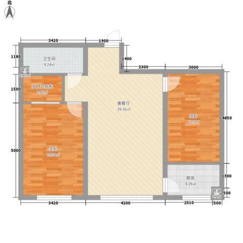 同心花园2室1厅1卫1厨98.00㎡户型图