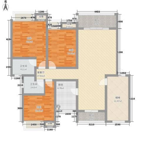 明诚景怡苑3室1厅2卫1厨165.00㎡户型图