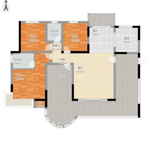 翡翠山河3室1厅2卫1厨217.00㎡户型图