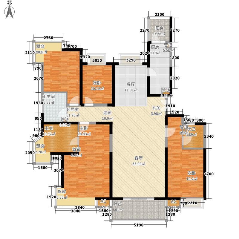 世茂外滩新城203.00㎡2#楼户型单页M1户型4室2厅3卫1厨