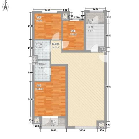 保利西山林语别墅3室0厅2卫1厨118.00㎡户型图