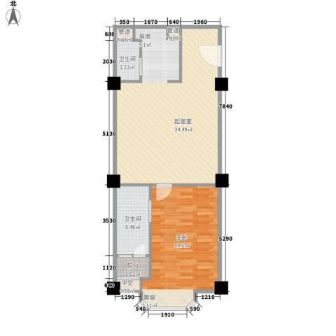 两岸新天地1室0厅2卫0厨88.00㎡户型图