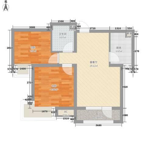 微电子小区2室1厅1卫1厨70.00㎡户型图