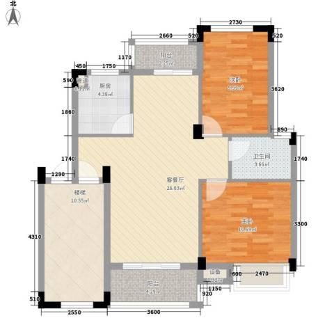 明诚景怡苑2室1厅1卫1厨104.00㎡户型图
