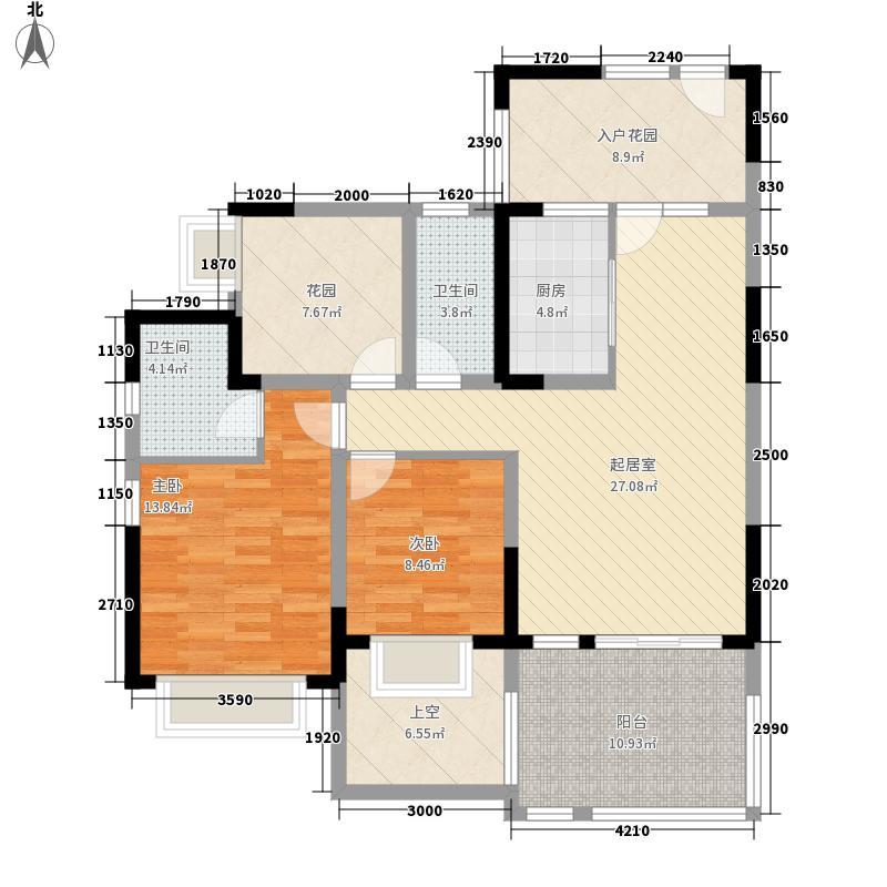 成都后花园国宾红�1期8号楼标准层B户型2室2厅1卫1厨