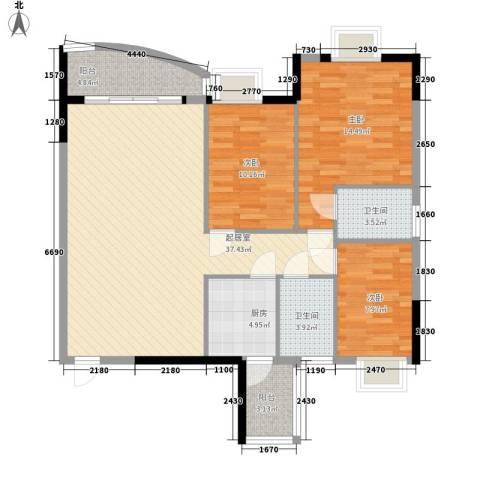 中南花园3室0厅2卫1厨118.00㎡户型图