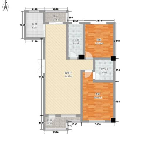 名仕乐居2室1厅2卫1厨121.00㎡户型图