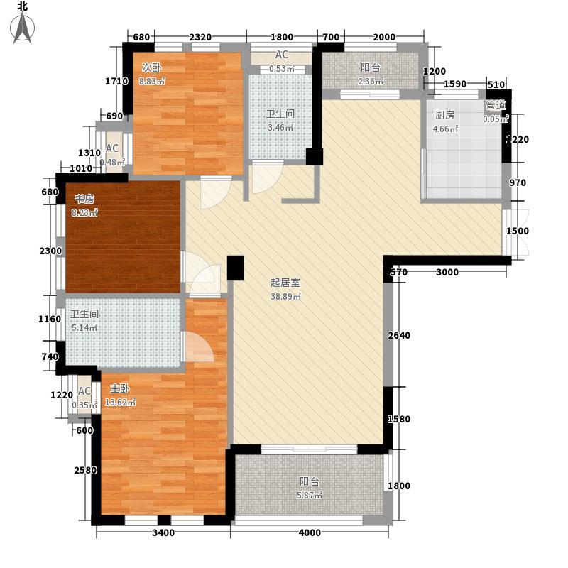 加州风情12.00㎡高层G-1户型3室2厅2卫