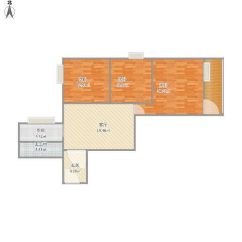 侨源新村3室1厅1卫1厨106.00㎡户型图