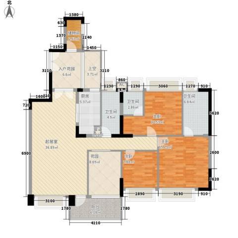 滨江花园3室0厅3卫1厨148.00㎡户型图