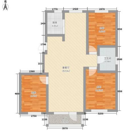名仕乐居3室1厅1卫1厨111.00㎡户型图