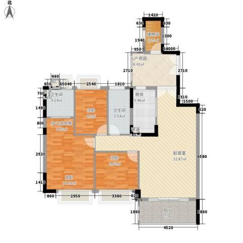 滨江花园3室0厅2卫1厨130.00㎡户型图