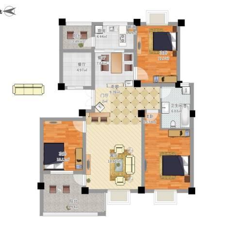 滨河阳光3室2厅1卫1厨148.00㎡户型图