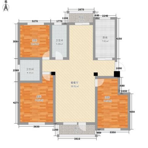 名仕乐居3室1厅2卫1厨147.00㎡户型图