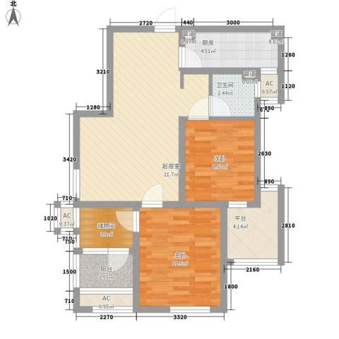保利梧桐公馆2室0厅1卫1厨89.00㎡户型图