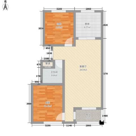 名仕乐居2室1厅1卫1厨93.00㎡户型图