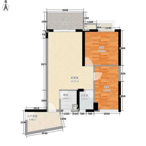 香樟国际2室0厅1卫1厨87.00㎡户型图