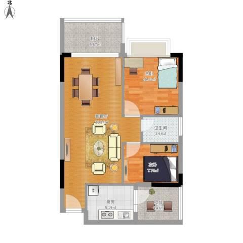 地王广场2室1厅1卫1厨88.00㎡户型图