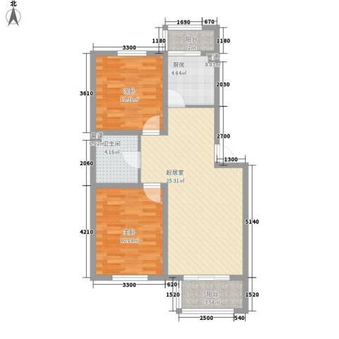 丹麦小镇2室0厅1卫1厨83.00㎡户型图
