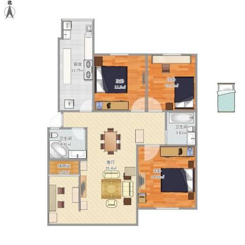海怡花园3室1厅2卫1厨126.00㎡户型图