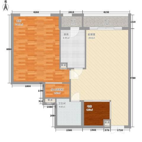 鹏丽国际公寓2室0厅1卫1厨113.00㎡户型图