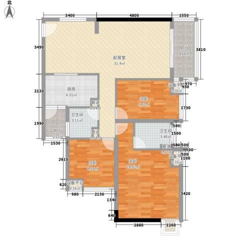 金沙雅苑3室0厅2卫1厨126.00㎡户型图