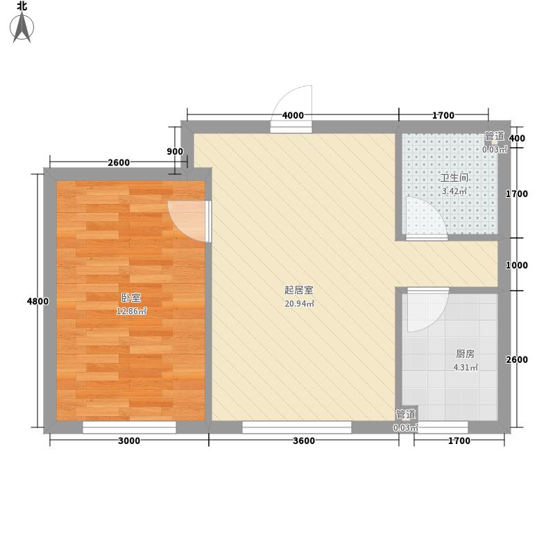 泉水锦泉源55.00㎡B1区2号楼D户型1室2厅1卫1厨