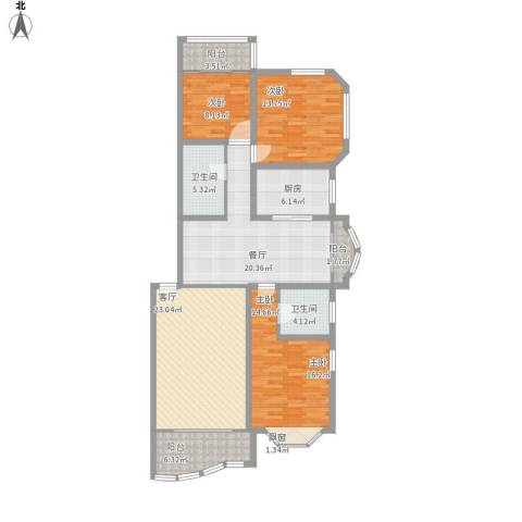21世纪・世纪园3室2厅2卫1厨155.00㎡户型图
