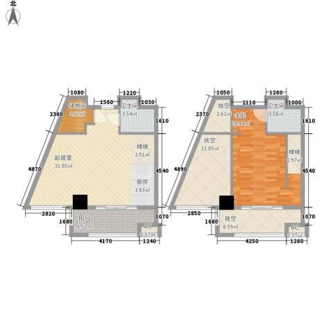 保利梧桐公馆1室0厅2卫0厨90.51㎡户型图