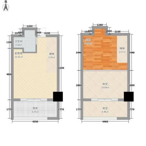保利梧桐公馆1室0厅1卫1厨62.39㎡户型图