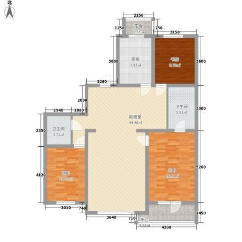 明城花园3室0厅2卫1厨147.00㎡户型图
