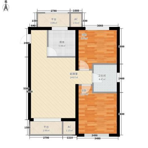 巴黎梦夏2室0厅1卫1厨75.00㎡户型图