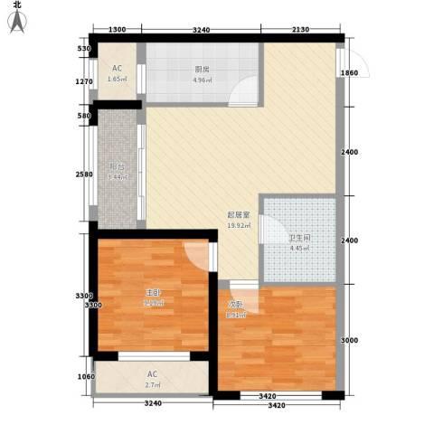 巴黎梦夏2室0厅1卫1厨68.00㎡户型图