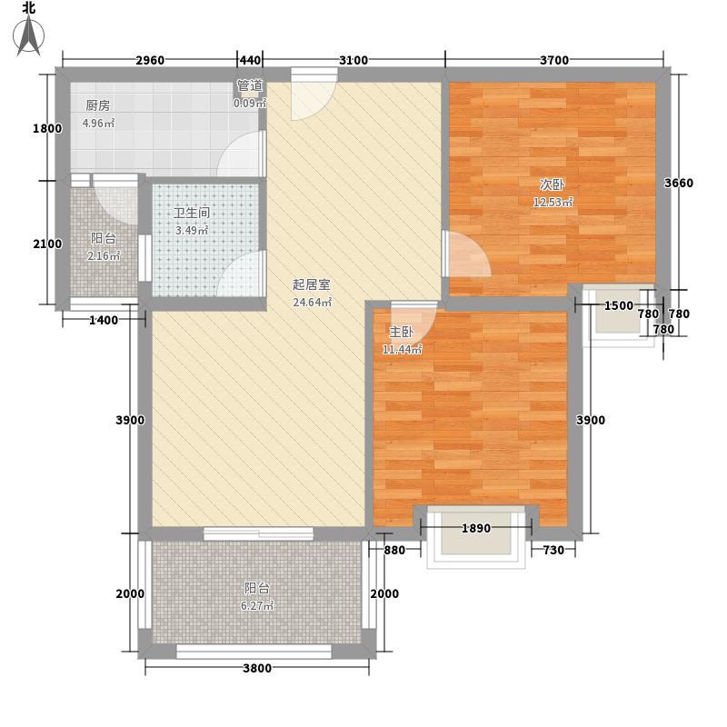 普鑫・上�郡88.16㎡5#12#13#E1户型2室2厅1卫1厨
