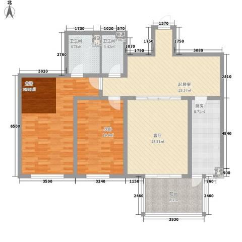 龙涛居2室1厅2卫1厨145.00㎡户型图