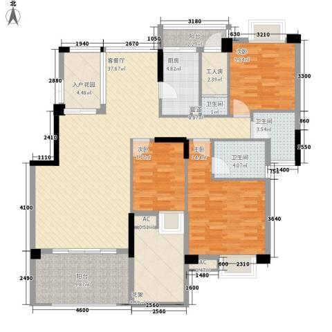 中航格澜郡别墅3室1厅3卫1厨160.00㎡户型图