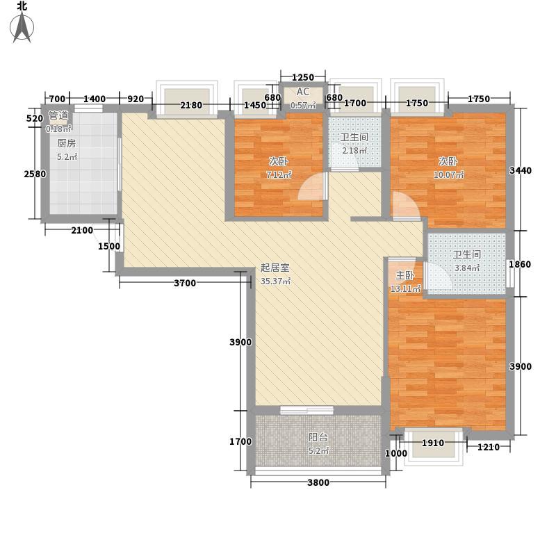 普鑫・上�郡115.17㎡5#G户型3室2厅2卫1厨