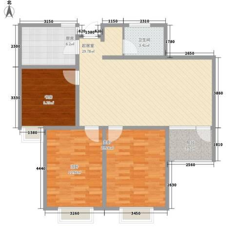 大学城博雅居3室0厅1卫1厨98.00㎡户型图