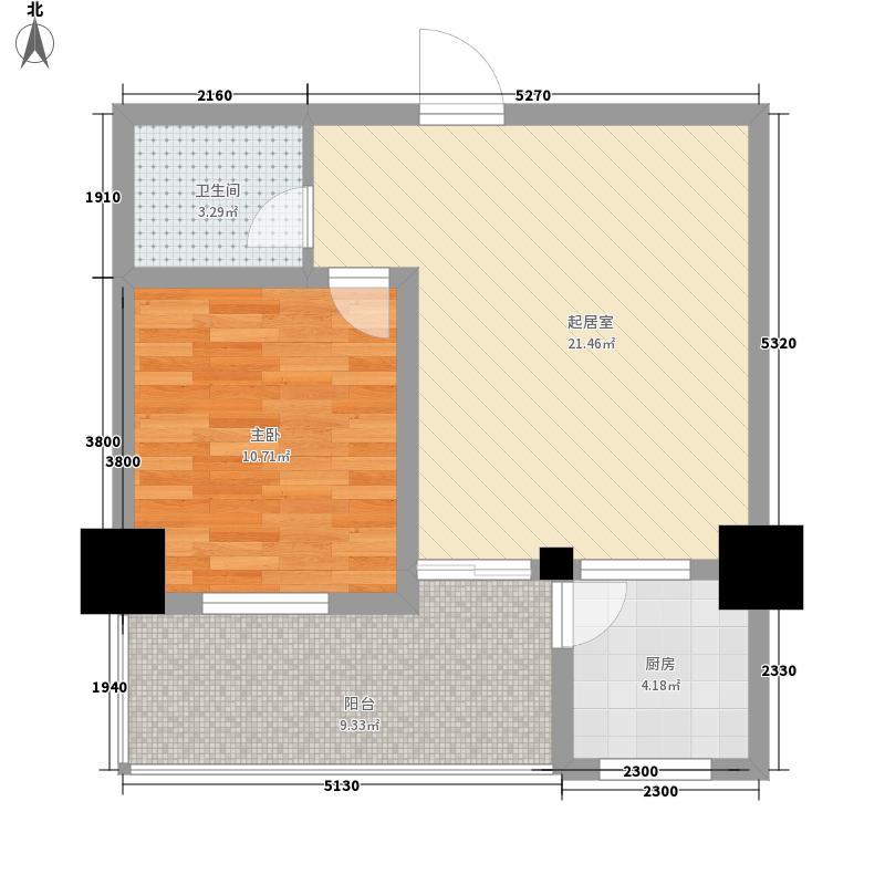 银垠大厦71.06㎡B户型1室1厅1卫1厨