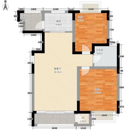 融城时代一期2室1厅1卫1厨98.00㎡户型图