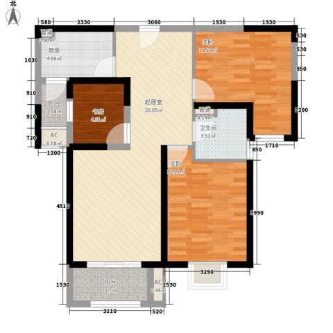 卓越繁华里3室0厅1卫1厨101.00㎡户型图