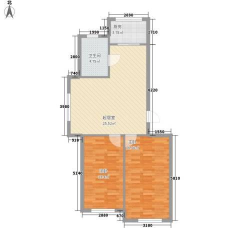 三川城2室0厅1卫1厨87.00㎡户型图